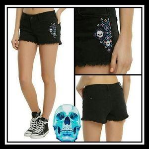 Blackheart Skull Embroidered Denim Shorts Black